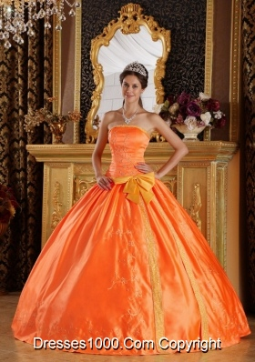 Orange Red Puffy Embroidery Dresses For a Quinceanera