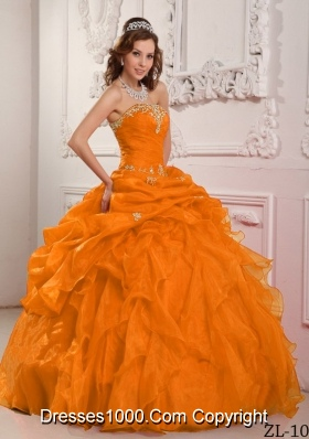 Orange Red Puffy Strapless Organza Beading and Ruffles Dresses Quinceanera