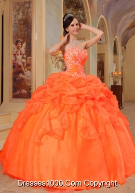 Orange Red Puffy Sweetheart Sweet Sixteen Dresses with Appliques