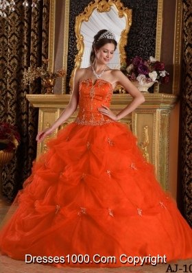 Orange Red Strapless Pick-ups and Appliques Dresses For Quinceaneras