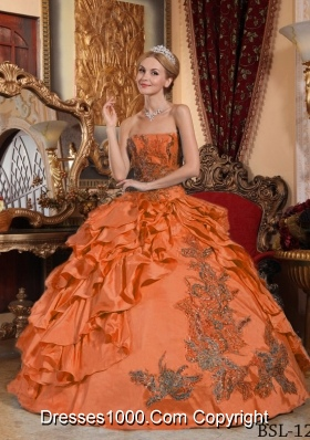 Orange Red Strapless Taffeta Quinceanera Dress with Appliques and Pick-ups