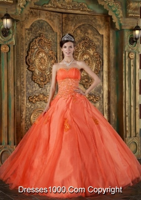 Orange Red Sweetheart Organza Appliques Dress For Quinceaneras