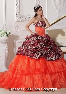 Orange Red Sweetheart Sweep Train Leopard Quinceanera Dresses with Pick-ups and Appliques