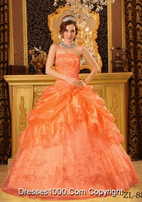 Organza Appliques Orange Red Quinceanera Dress with Pick-ups