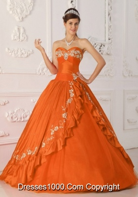 Princess Sweetheart Embroidery and Beading for Orange Red Quinceanera Dress