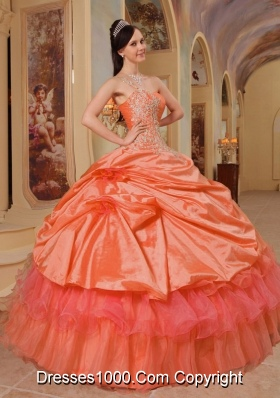 Puffy Appliqued One Shoulder Orange Red Sweet 16 Dresses