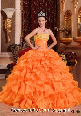 Puffy Orange Red Quinceanera Dress with Ruffles and Appliques