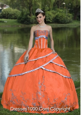 Puffy Orange Red Quinceanera Gown Dresses with Embroidery