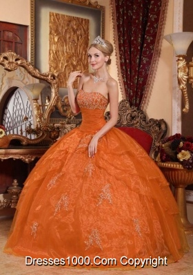 Puffy Strapless Orange Red Puffy Quincenera Dresses with Appliques