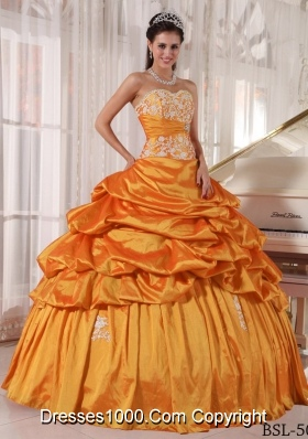 Sweetheart Orange Puffy Quinceanera Dresses Appliques and Pick-ups
