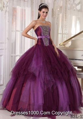 2014 Affordable Puffy Quinceanera Dresses Strapless with Beading