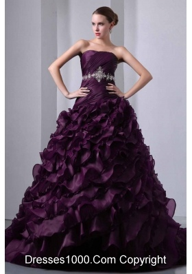 2014 Beautiful Princess Strapless Brush Train Beading and Ruching Quinceanea Dresses