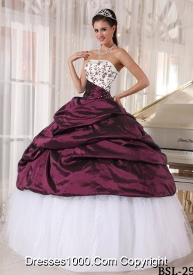 2014 Beautiful Puffy Strapless Embroidery Quinceanera Dresses with Pick-ups