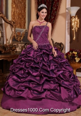 2014 Dark Purple Puffy One Shoulder Pick-ups Quinceanera Dress with Beading