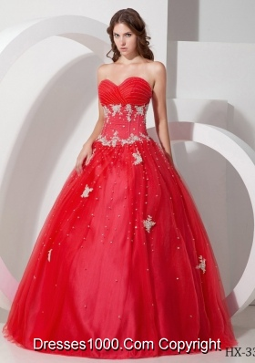 2014 Gorgeous Puffy Sweetheart Quinceanera Dress with Appliques and Beading