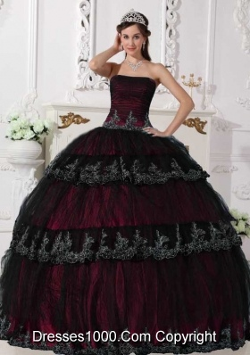 2014 Modest Puffy Strapless Appliques Quinceanera Dresses with Ruffled Layers
