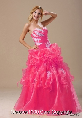 Appliques and Hand Made Flowers Floor-length For 2014 Quinceanera Dresses