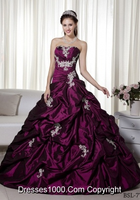 Beautiful Princess Strapless 2014 Appliques Quinceanera Dresses with Pick-ups