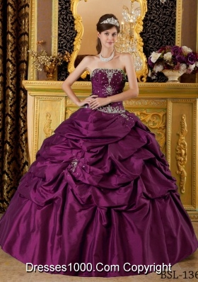 Brand New Puffy Strapless Appliques 2014 Quinceanera Dresses with Pick-ups 212.47