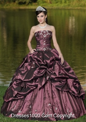 Custom Size Strapless Appliques and Pick-ups Dark Purple Quinceanera Dresses