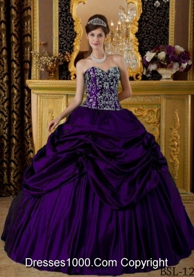 Dark Purple Puffy Sweetheart Embroidery Quinceanera Dresses with Pick-ups