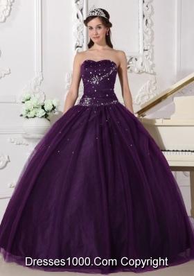 Dark Purple Puffy Sweetheart Rhinestone Quinceanera Dresses for 2014