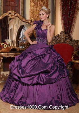 Exclusive Purple Puffy One Shoulder Beading 2014 Quinceanera Dresses