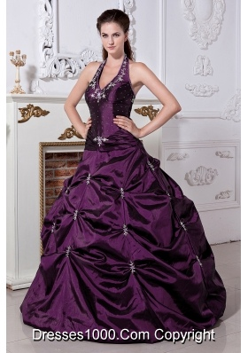 Gorgeous Eggplant Purple Princess Halter Embriodery Quinceanera Gowns with Pick-ups