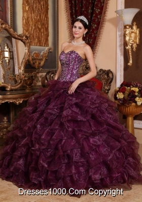 Luxurious Dark Purple Puffy Sweetheart Sequins 2014 Quinceanera Dress with Ruffles