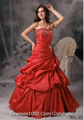 Princess Strapless Beading for 2014 Quinceanera Dress with Pick-ups and Hand Made Flowers