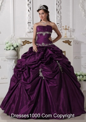 Simple Puffy Strapless Appliques 2014 Quinceanera Dresses with Pick-ups