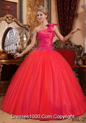 2014 Brand New Coral Red Puffy One Shoulder Beading Quinceanera Dress with Bow