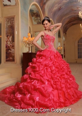 2014 Coral Red Puffy Spaghetti Straps Embroidery Quinceanera Dress with Pick-ups