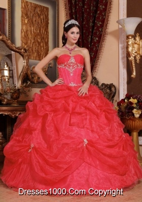 2014 Coral Red Puffy Sweetheart Beading Quinceanera Dress with Pick-ups