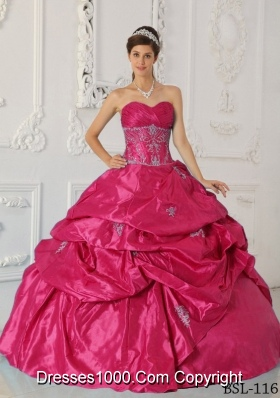 2014 Gorgeous Coral Red Puffy Sweetheart Appliques Quinceanera Dress with Pick-ups