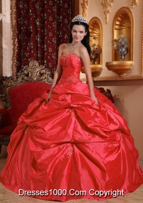 2014 Petty Coral Red Puffy Strapless Beading Quinceanera Dress with Pick-ups
