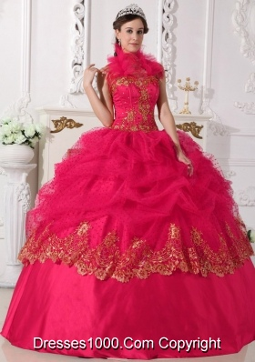 2014 Popular Coral Red Puffy Halter Beading and Appliques Quinceanera Dress