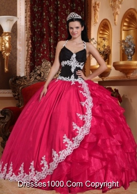 2014 Pretty Coral Red Puffy Lace Quinceanera Dress V-neck with Appliques