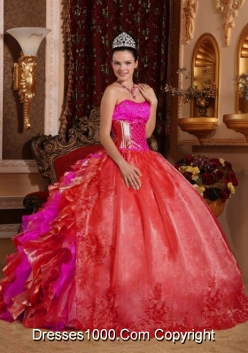 2014 Puffy Strapless Ruffles and Embroidery Red Sweet Sixteen Dress with Ruffles