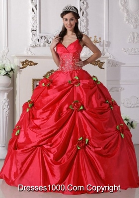 2014 Red Puffy Spaghetti Straps Beading Quinceanera Dress with Hand Made Flowers