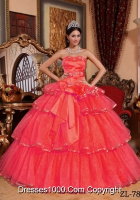2014 Romantic Coral Red Puffy Strapless Appliques Quinceanera Dress with Ruffled Layers
