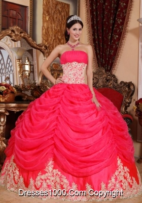 2014 Sweet Coral Red Puffy Strapless Beading Quinceanera Dress