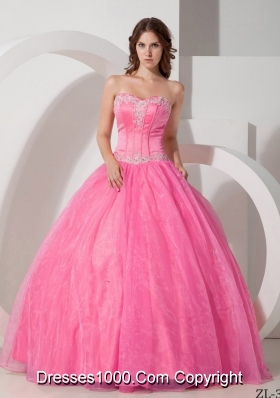 Beautiful Sweetheart Organza Quinceneara Dresses with Appliques and Beading