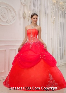 Coral Red Ball Gown Strapless Appliques Quinceanera Dress with Beading