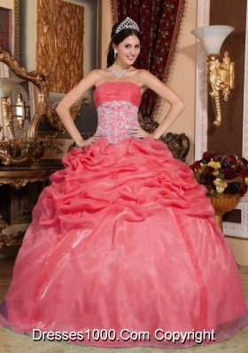 Coral Red Puffy Strapless Appliques for 2014 Quinceanera Dress with Beading