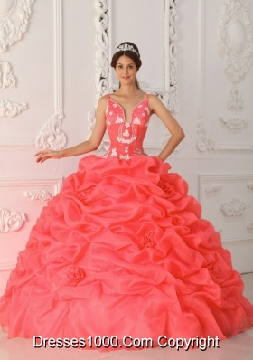 Cute Custom Made Coral Red Sweetheart Ruffles and Embroidery For Quinceanera Wear In 2014