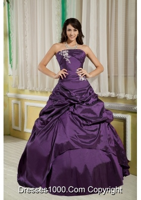 Dark Purple Princess Strapless Appliques for 2014 Quinceanera Dress with Pick-ups