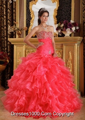 Exclusive Puffy Sweetheart Beading for 2014 Quinceanera Dress with Ruffles
