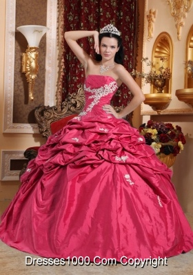 Lovely Coral Red Puffy Strapless for 2014  Appliques Quinceanera Dress with Pick-ups