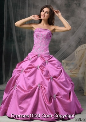 Modest Puffy Strapless Taffeta Quinceanera Gowns with Beading